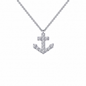 "LaFonn Sterling Silver Small Anchor Pendants on 18"" Anchor Link Chain with Simulated Diamonds by Lafonn Jewelry"