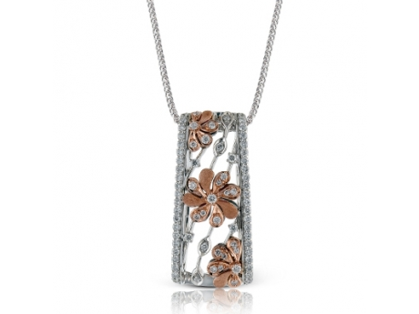 Simon G 18KT White and Rose Gold Flower Pendant with 72 Round Diamonds at .44 CT TWT