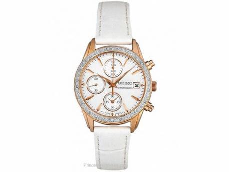 Seiko Ladies Chrono - Swarovski Crystals - MOP Dial - Rose Gold-Tone - Leather