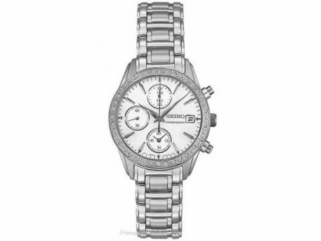Seiko Ladies Swarovski Crystal Chronograph - MOP Dial - Stainless Steelption
