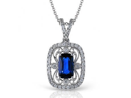 Simon G 18KT White Gold Diamond and Sapphire Vintage Style Pendant with Diamonds at .38 CT TWT and .62 CT TW Oval Sapphire.