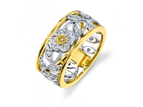 Simon G 18KT White and Yellow Gold Flower Designed Wedding Band with 22 G/H Color VS2 Clarity Diamonds at .27CT TWT and 1 Round VS2 Intense Yellow Diamond at .03CT TWT. -#MR1000