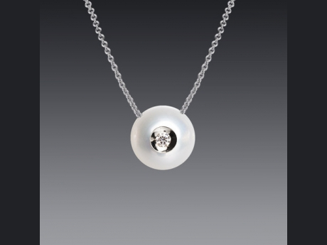 Galatea 14KT White Gold Fresh Water Cultured Pearl Pendant with .04 CT TWT