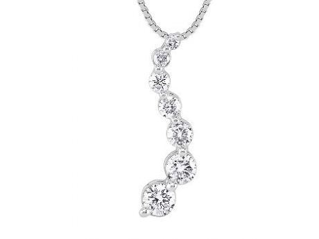 "14KT White Gold Journey Pendant with 7 Diamonds with 1.20 CT TWT on an 18"" 14KT White Gold Box Chain"
