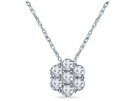 Jabel 18KT White Gold Flower Diamond Cluster Pendant with 7 Diamonds at .50 CT TWT