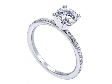 Gabriel&Co 14KT White Gold Contemporary Straight Engagement Ring with Side Diamonds Totaling .17CT TDW.