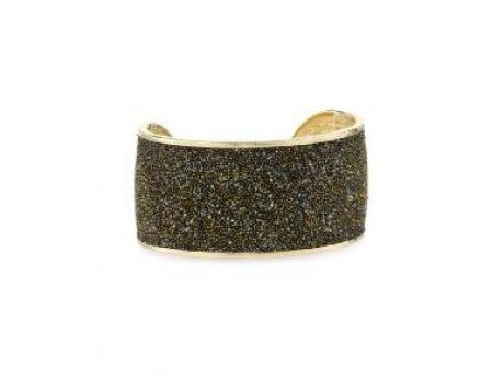 Rebecca Watamu Gold Coated Bronze Cuff with Lazer Etched Swarovski Crystal Stones